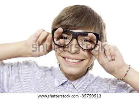 Fun boy in glasses without lenses