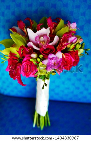 Fun Brightly Colored Floral Flower Bouquet for Wedding on Bright Blue Chair with Pearl Accent #1404830987