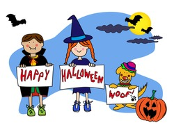 Fun cartoon characters disguised in their Halloween costume of Dracula a with and the dog is a clown wishing you a happy halloween. Vector: 79093822