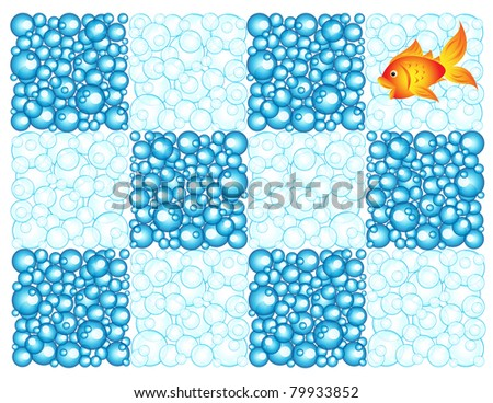 Fun checkerboard pattern made of different darker and light blue bubbles with one goldfish ready to play, can be used as background.