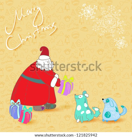 ... with santa and blue dogs on seamless pattern background - stock photo
