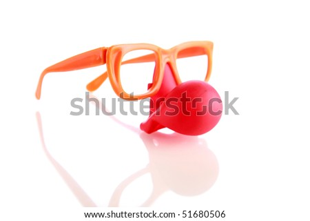 Fun Clown Glasses with red nose on white with reflections - stock photo