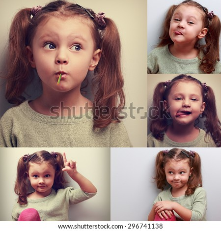 Fun collage (collection) of happy kid girl with humor different emotions. Showing tongue, sucking the candy