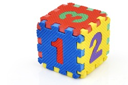 Fun colorful toy puzzle cube or dice in textured foam for kids to learn their numbers, here 1,2,3.