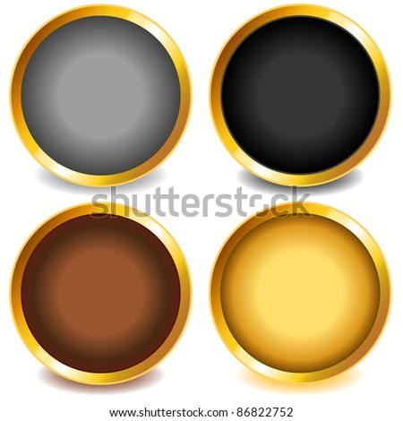 Fun colorful web buttons with drop shadows grey, black, brown and gold or yellow tone with gold bevel.