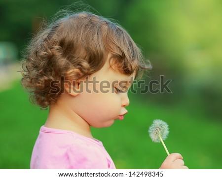 Fun cute child blowing on dandelion flower on green summer background. Closeup portrait