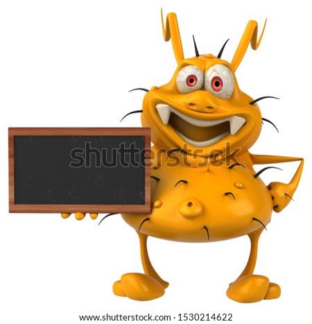 Fun 3D germ monster holding a blackboard