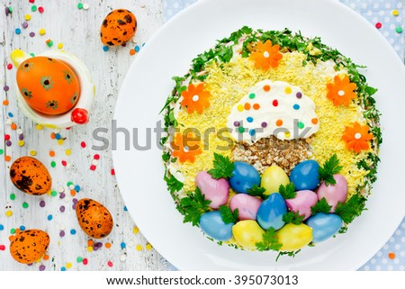 free spring seasonal salad decorated cute flower from