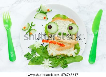 Fun food art for kids creative frog sandwich #676763617