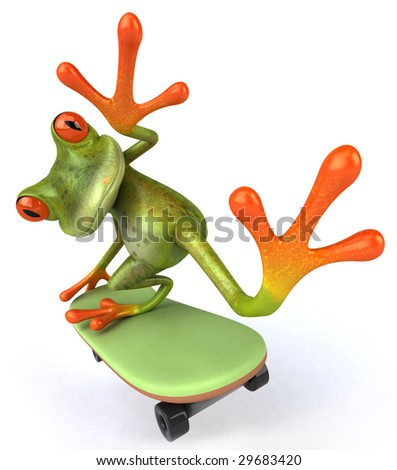 Fun frog on a skateboard