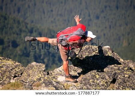 fun hiker in bulgarian Rila mountain