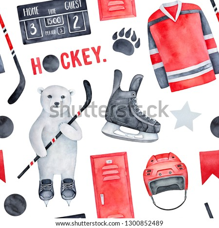 Fun ice hockey theme seamless pattern in red, black and white; with skates, pucks, sticks, jersey, score board, polar bear character, stars, athletic locker. Hand drawn water color graphic drawing.