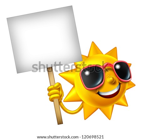 Fun in the sun isolated mascot holding a blank sign as a hot summer three dimensional cartoon character for leisure sunny vacation time and advertisement or communication of holiday relaxation.