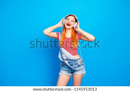 Fun joy leisure lifestyle people person concept. Close up studio photo portrait of pretty excited cheerful rejoicing glad funky funny fancy lady enjoying best track ever isolated bright background #1145953013
