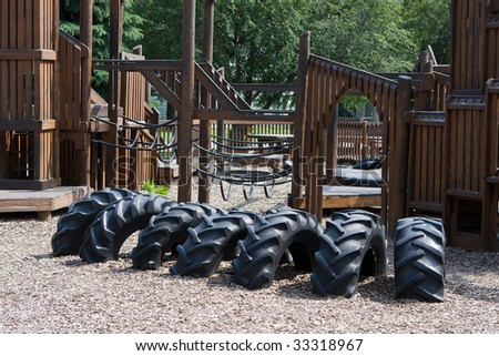 Fun looking children's playground that just needs kids. - stock photo