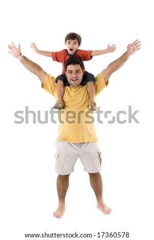 Fun moment between father and son