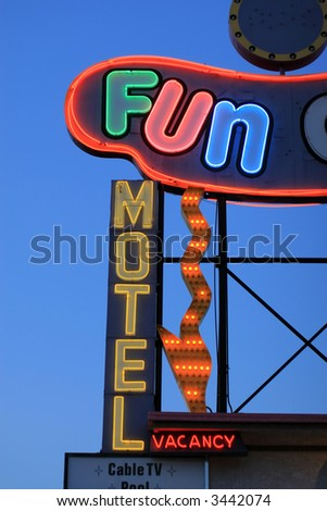 Fun motel neon sign detail, Las Vegas, Nevada, USA