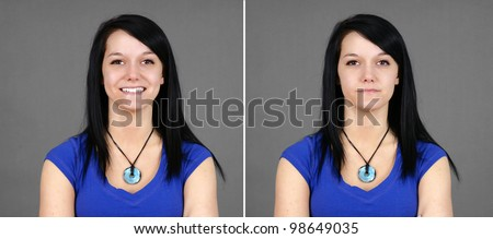 Fun pair of portraits of a pretty young brunette woman with two facial expressions: smiling for happy and neutral or indifferent (large format).