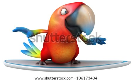 Fun parrot surfing