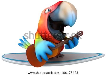 Fun parrot surfing - stock photo