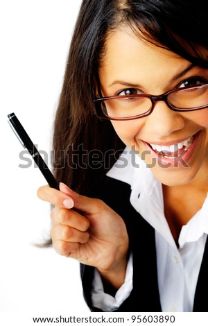 fun portrait of a businesswoman with glasses happy smiling close-up