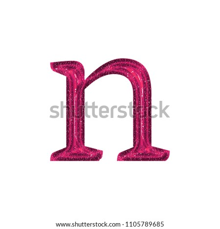 Picnetz Fun Sparkling Glittery Pink Letter N Lowercase In A 3d
