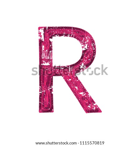 Fun sparkling glittery pink letter R in a 3D illustration with a rough shiny sparkly plastic effect and damage distressed font style isolated on white with clipping path Stock fotó ©