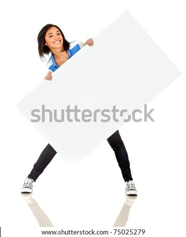 Fun woman holding a banner ad - isolated over a white background