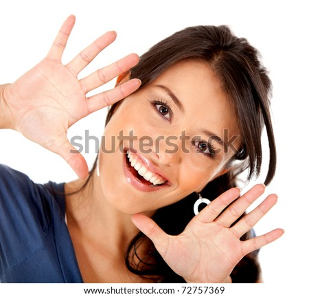 Fun woman portrait playing with her hands - isolated over white
