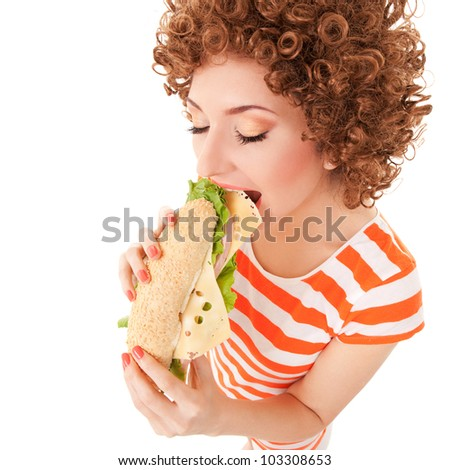 Fun woman with sandwich on the white background