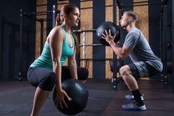 functional fitness workout at the gym with medicine ball