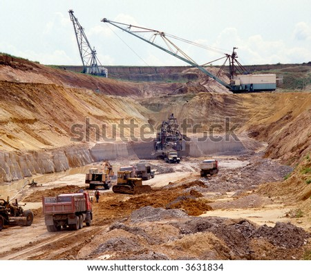 Functioning(working) the machines in quarry