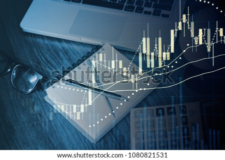Fundamental and technical analysis as concept. Candle stick graph chart of stock market trading to represent about Bullish point, Bearish point and trend of digital price graph.