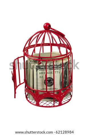 Funds to take flight shown by a birdcage with an open door - path included