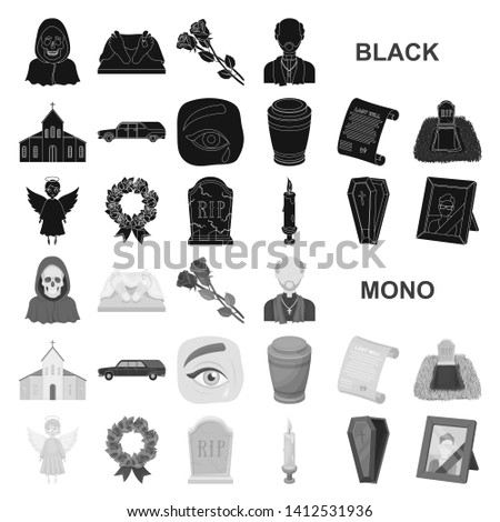 Funeral ceremony black icons in set collection for design. Funerals and Attributes bitmap symbol stock web illustration.