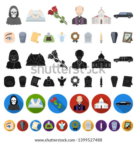 Funeral ceremony cartoon icons in set collection for design. Funerals and Attributes bitmap symbol stock web illustration.
