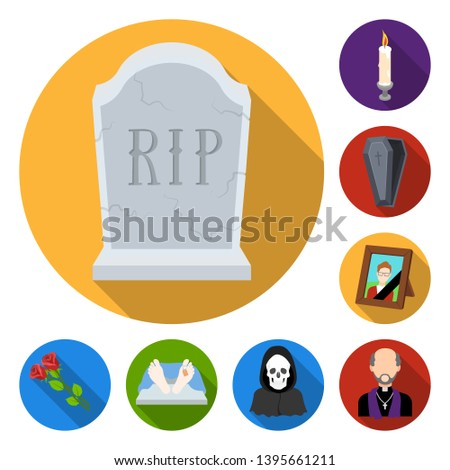 Funeral ceremony flat icons in set collection for design. Funerals and Attributes bitmap symbol stock web illustration.