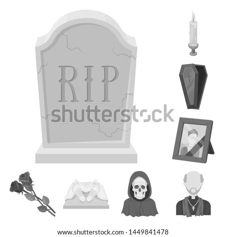 Funeral ceremony monochrome icons in set collection for design. Funerals and Attributes bitmap symbol stock web illustration.