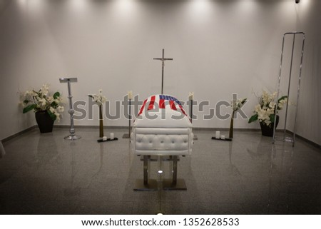 Funeral home with new modern like a Sofa chester coffin style #1352628533