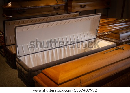 Funeral home with new modern like a Sofa chester coffin style #1357437992