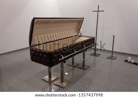 Funeral home with new modern like a Sofa chester coffin style #1357437998