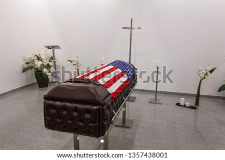 Funeral home with new modern like a Sofa chester coffin style #1357438001