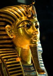 Funeral mask of Pharoah Tutankhamun, Egypt.