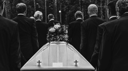 funeral procession and coffin