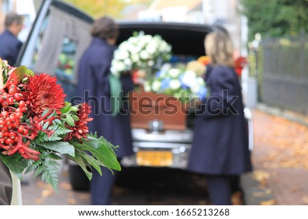 Funeral procession with flowers in car Сток-фото ©