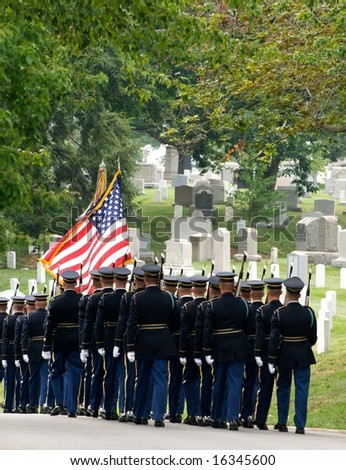 Funeral procession with honor guard at Arlington National Cemetery