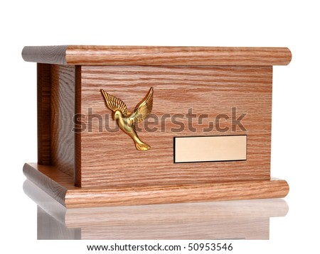 Funeral wood urn complete view isolated on pure white background