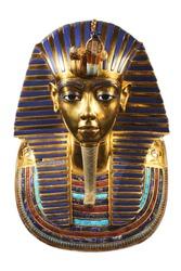 Funerary burial mask of egyptian pharaoh Tutankhamun. Isolated on white background. Mask of Tutankhamun is a gold mask of the 18th-dynasty ancient Egyptian Pharaoh Tutankhamun