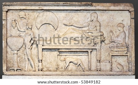 Funerary stele with banquet scene. Sculpture from attic (Greek) period, 450-480 BC - stock photo