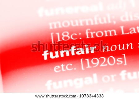 funfair word in a dictionary. funfair concept